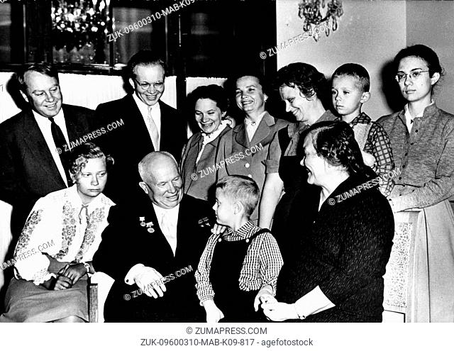 March 10, 1960 - Paris, France - A family picture showing ffrom left to right; YULIA L's granddaughter, NIKITA KHRUSCHEV, little NIKITA, his Grandson