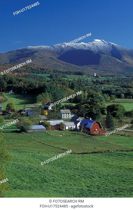 mountain, snow, farm, VT, Vermont, Mt. Mansfield, Cambridge, Scenic view of the first snow on Mount Mansfield in the fall and the picturesque countryside of...
