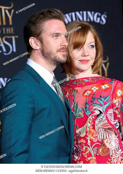 Dan Stevens and Susie Hariet attending the World Premiere of Disney's 'Beauty and the Beast' at the El Capitan Theater in Los Angeles, California