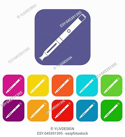 Electronic cigarette icons set illustration in flat style in colors red, blue, green, and other