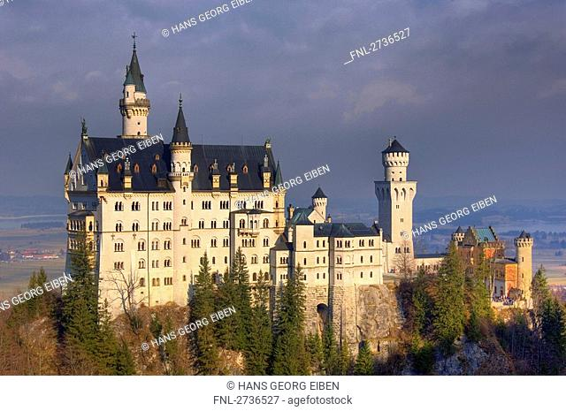 Trees in front of castle, Neuschwanstein Castle, Allgaeu, Bavaria, Germany