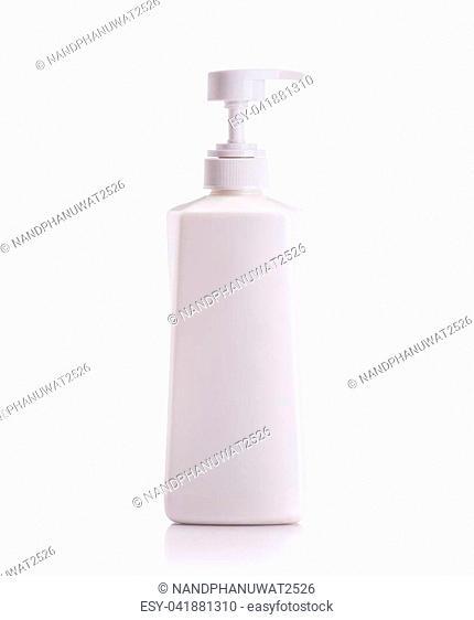 Blank white pump plastic bottle used for shampoo or soap. Studio shot isolated on white background