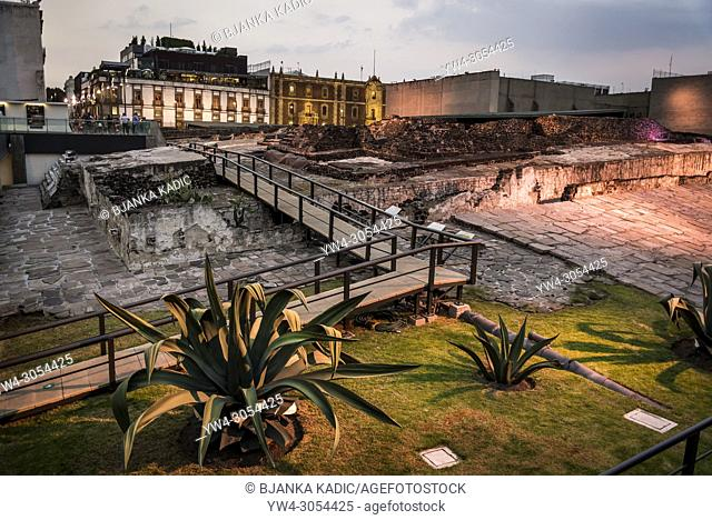 "View of Templo Mayor or """"Main Temple"""" at night, the main temple of the Aztecs in their capital city of Tenochtitlan, Mexico City, Mexico"