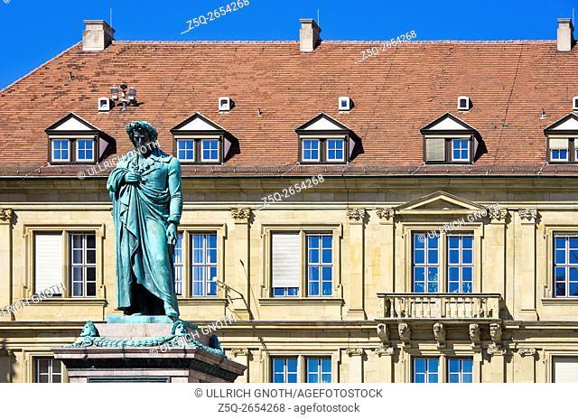 The Schiller memorial in front of the Prinzenbau building at Schiller Square, Stuttgart, Germany