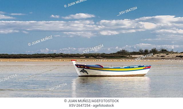 Boat on the beach. Cancela Velha. Algarve. Portugal