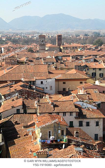 street scene in lucca, tuscany, italy