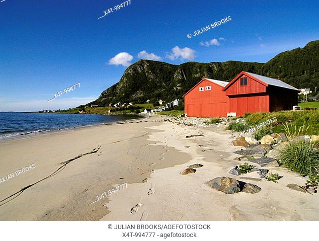 Boat houses on the beach at Ulsteinvik, Norway