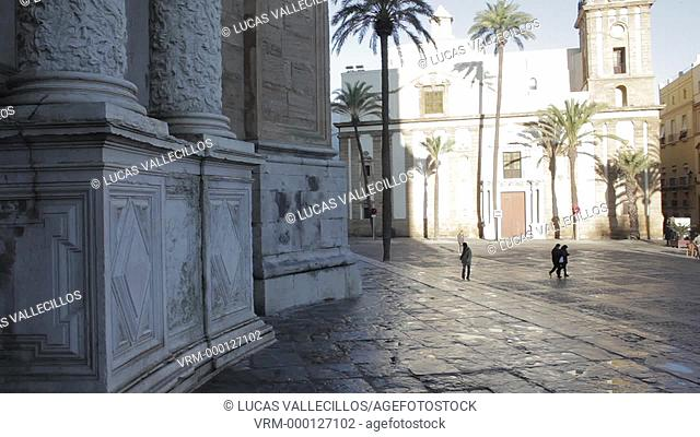 Cathedral square, at left door of cathedral, Cádiz, Andalusia, Spain