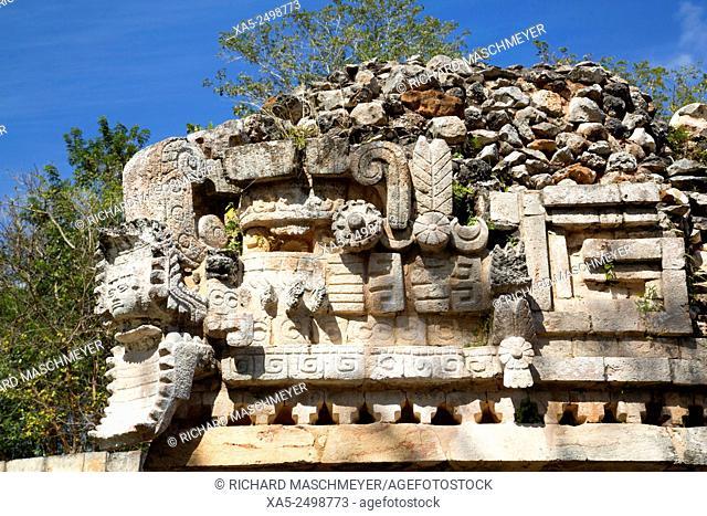 Serpent's Head with Human Face, The Palace, Labna, Mayan Ruins, Yucatan, Mexico