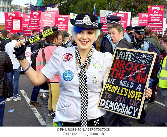 Madeleina Kay - Young European of the Year / 'EU' Supergirl and for one day EU Super Police Girl - campaigning against Brexit at the People's Vote March in...