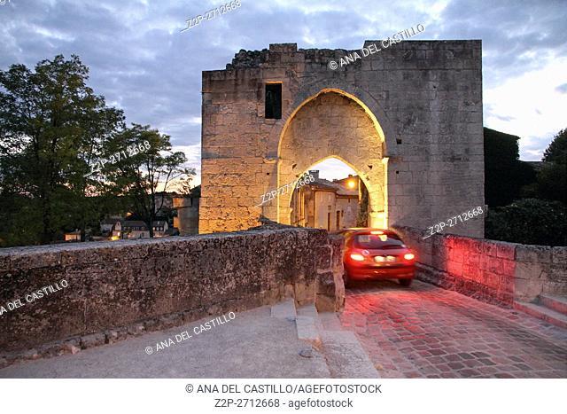 Bordeaux Saint-Emilion France La Porte Brunet, the ancient gate at dusk