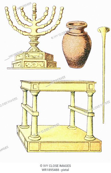 The objects pictured, from left to right and top to bottom, are from ancient Hebrew times: seven-branched candlestick, water vessel, trumpet