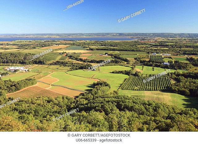View of the Annapolis Valley in Nova Scotia from the lookoff on the North mountain. Canada