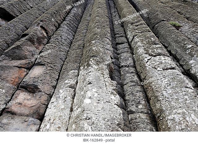 Basalt columns at the cliffs by the Giant's Causeway, Londonderry, North Ireland