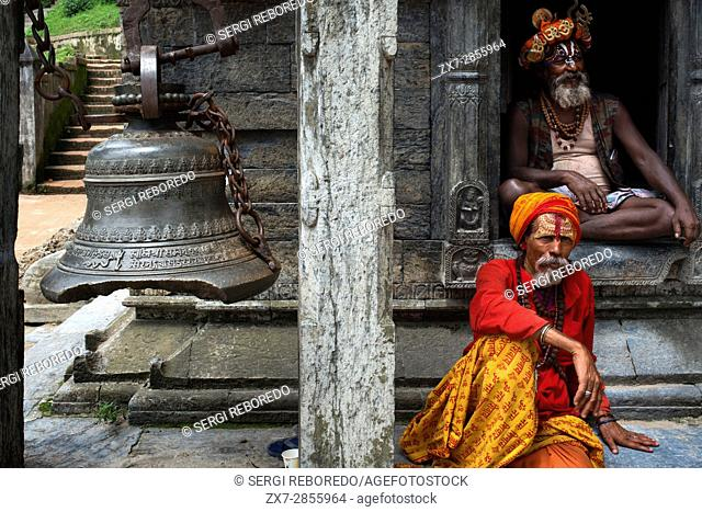 Portrait of a sadhus in Pashupatinath, Nepal. The place of the cremations by the Bagmati River. Holy men sadhu colourfully painted