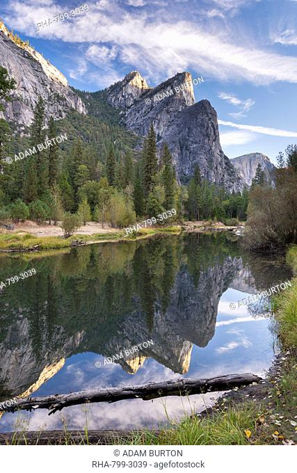 The Three Brothers reflected in the River Merced, Yosemite National Park, UNESCO World Heritage Site, California, United States of America, North America