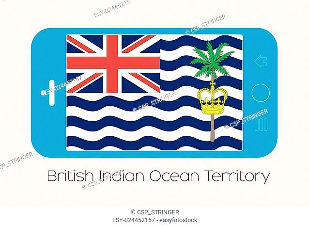 Mobile Phone with the Flag of British Indian Ocean Territory