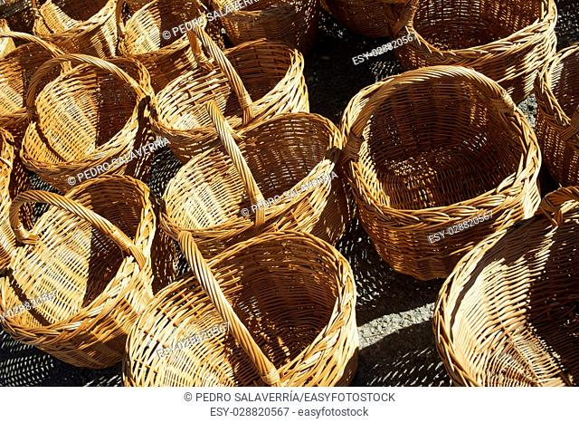 Group wicker baskets at a local flea market, Biescas, Pyrenees, Huesca, Spain