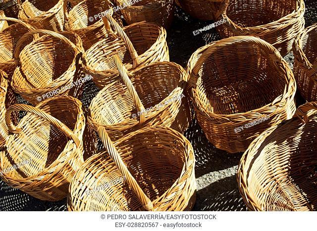 Group wicker baskets at a local flea market, Biescas, Pyrenees, Huesca, Spain