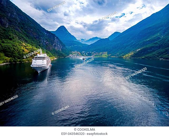 Geiranger fjord, Beautiful Nature Norway. It is a 15-kilometre (9.3 mi) long branch off of the Sunnylvsfjorden, which is a branch off of the Storfjorden aerial...