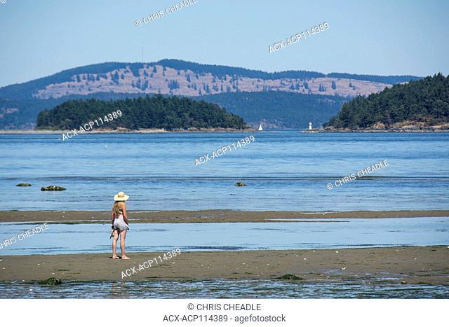 Beaches of Sidney Island looking toward Gulf Islands and San Juan Islands, British Columbia, Canada