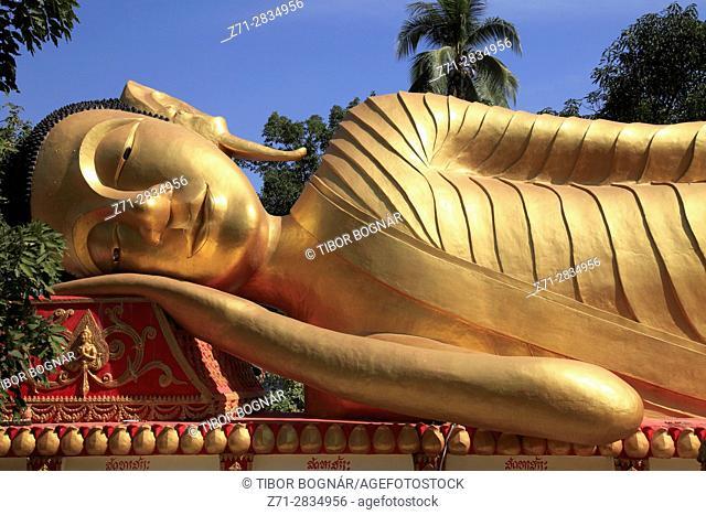 Laos, Vientiane, Wat Tatkhao, buddhist temple, Reclining Buddha, statue,
