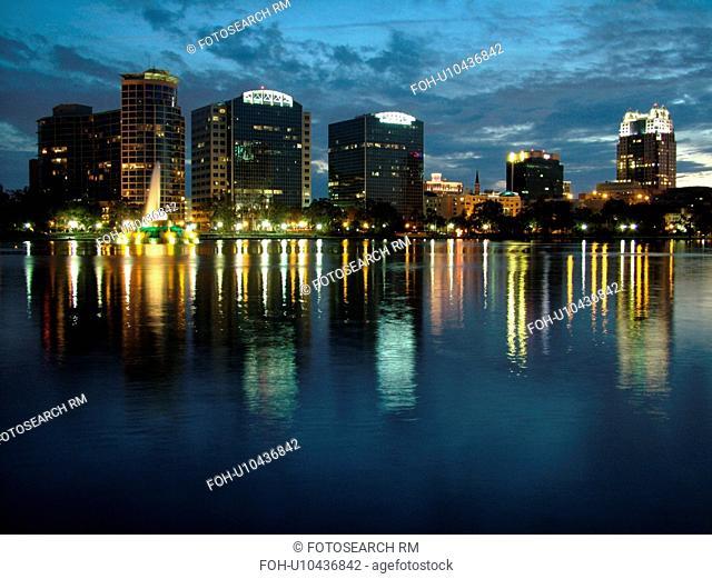 Orlando, FL, Florida, Downtown skyline, Lake Eola, evening