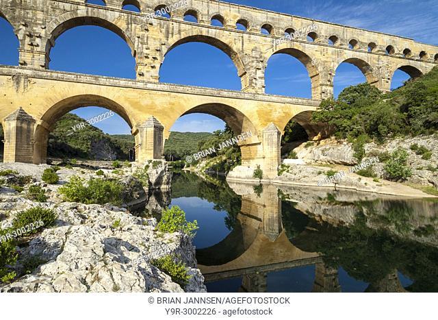 Roman bridge and aqueduct - Pont du Gard near Nimes, Languedoc-Roussillon, France