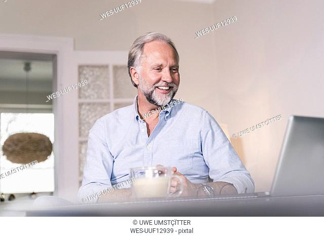 Portrait of happy man looking at laptop