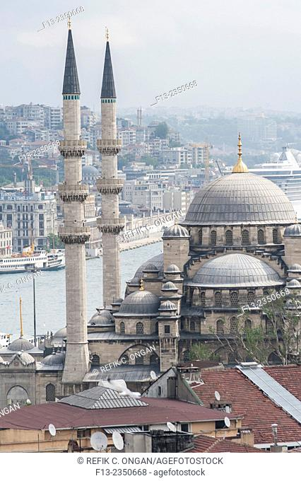 New mosque and golden horn and the Pier in Eminonu district