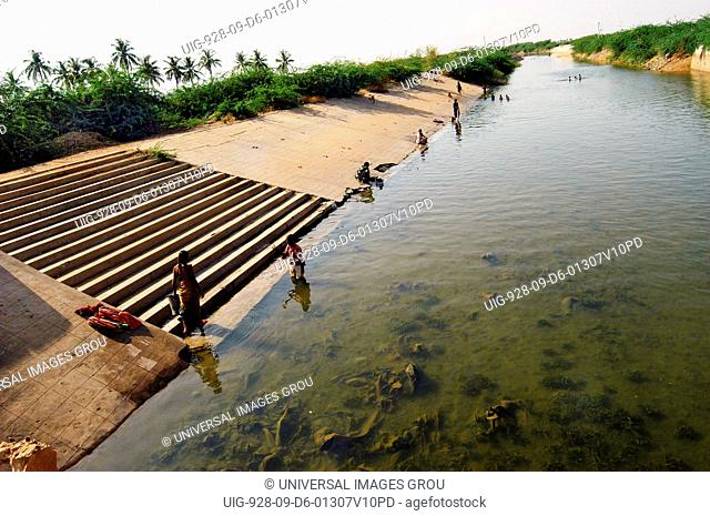 Man Made Canal Is Filled With Water For The Use In Farming In Village In Andhra Pradesh, India