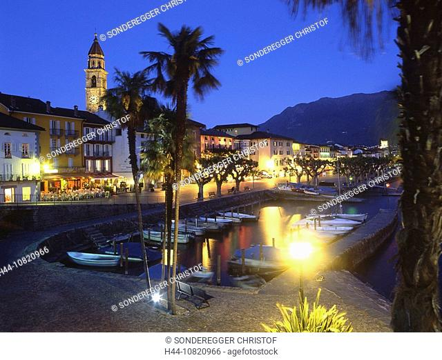 Ascona, view, old town, at night, night, harbor, port, palm trees, lake, Lago Maggiore, Canton Ticino, Switzerland, Eu