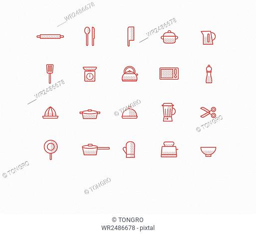 Set of line icons related to kitchen supplies