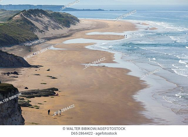 UK, Northern Ireland, County Antrim, Portrush, elevated view of Curran Strand beach