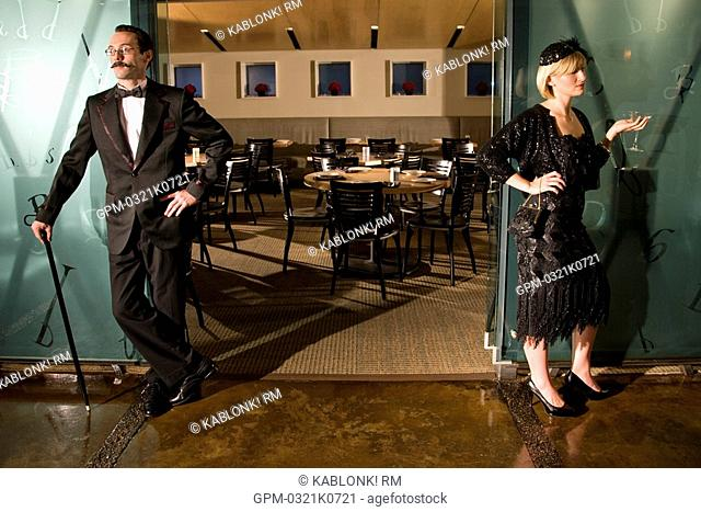 1920s style lady and gentleman at restaurant