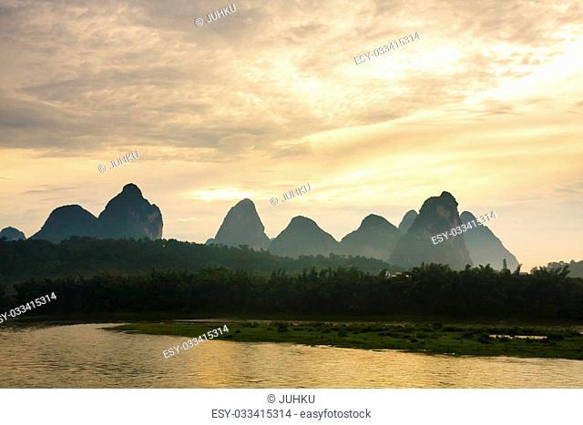 Karst mountains at li river china sunrise