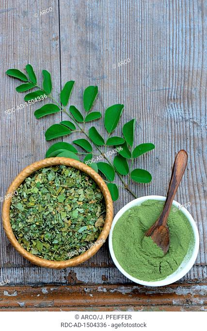 Moringa, Moringa-Pulver in Schale mit Holzloeffel, getrocknete und frische Moringablaetter, Moringapulver, Moringa oleifera