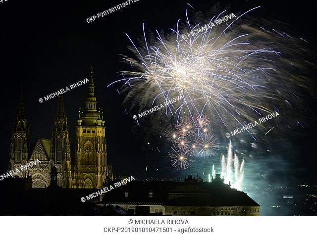 New Year's firework with the main theme of freedom starts in Letna park, Prague, Czech Republic, January 1, 2019. (CTK Photo/Michaela Rihova)
