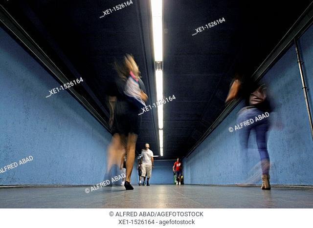 Tunnel, interchange station, subway, Barcelona, Catalonia, Spain