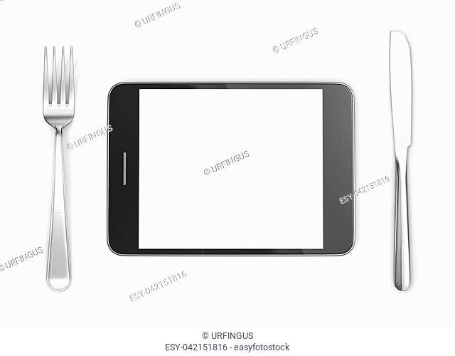 Knife, fork near tablet PC on a white background. 3d illustration