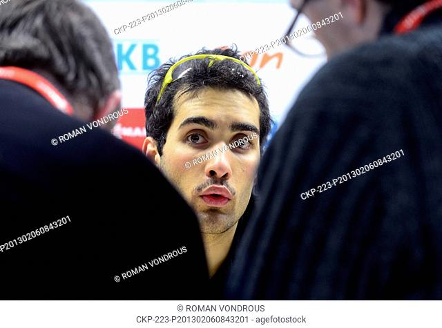 French biathlete Martin Fourcade is seen during a press conference of French representation ahead of the IBU Biathlon World Championship 2013 in Nove Mesto na...