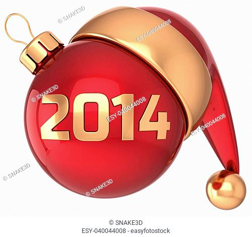 Christmas ball 2014 New Year bauble red gold decoration Santa hat icon banner traditional. Merry Xmas symbol souvenir calendar date beginning concept