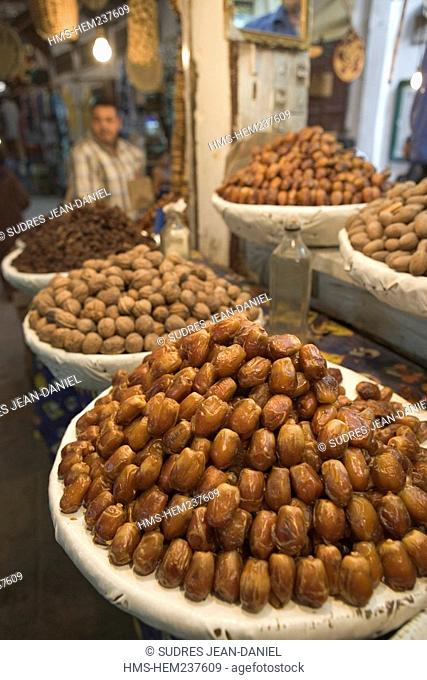 Morocco, Middle Atlas, Fez, Imperial City, Fez El Bali, medina listed as World Heritage by UNESCO, detail of a stand of dry fruits in the souk
