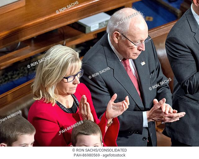 Former United States Vice President Dick Cheney, right, and his daughter, US Representative Liz Cheney (Republican of Wyoming), left
