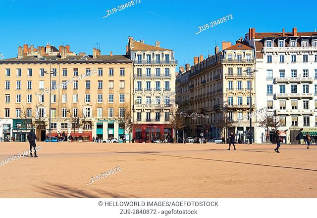 La Place Bellecour, Lyon, Auvergne-Rhone-Alpes, France, Europe. . A UNESCO world heritage site at the heart of Presqu'ile (peninsula) between the Saone and...