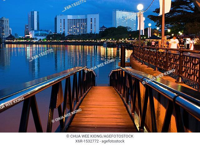 Kuching riverfront at dusk