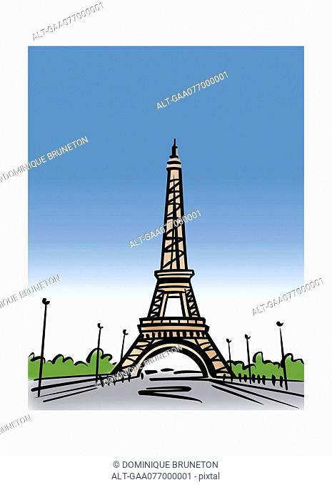 Illustration of the Eiffel Tower in Paris, France