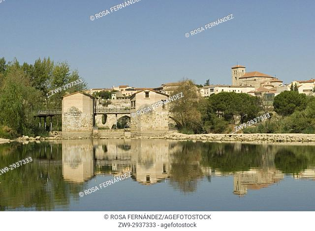 View of the town center of Zamora, aceñas, water mills over Duero River and Cathedral of San Salvador, Romanesque Style, XII Century, Province of Zamora