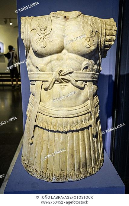 Roman Armoured Sculpture from Pergamon. Bergama Museum. Ancient Classic Greece. Asia Minor. Turkey
