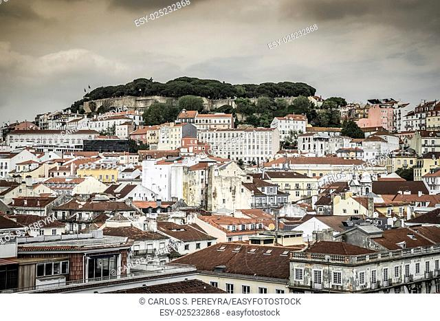 Aeriel view of the downtown of Lisboa with Sao Jorge castle Portugal
